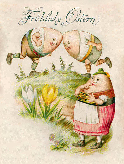 The Vintage German Easter Card Shown Here Is A Charming Illustration Of Rambunctious Energy Spring